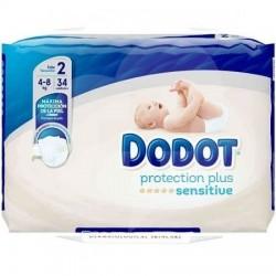DODOT Pañal Infantil Sensitive Recién Nacido T2 (4-8) kg 34 uds
